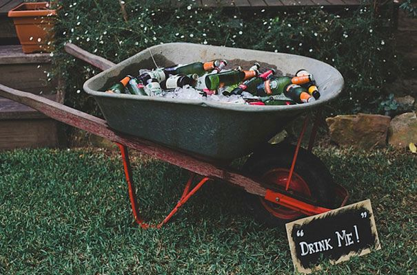 Backyard Party. Great way to recycle an old wheelbarrow. So very ready for summer.