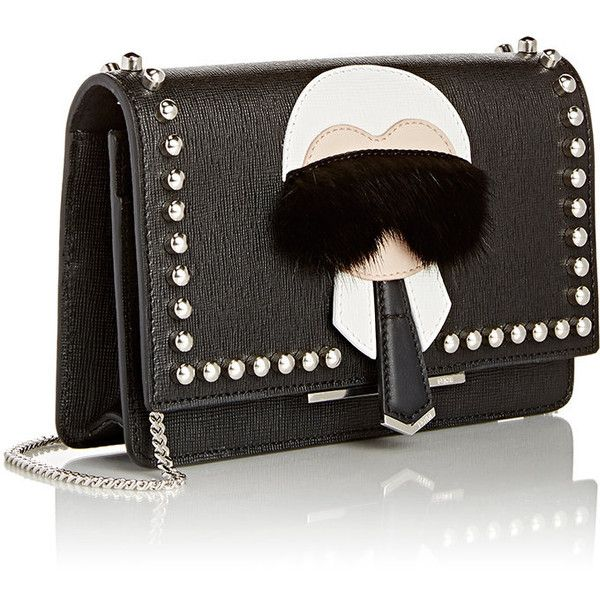 Fendi Karlito Chain Wallet ($1,600) ❤ liked on Polyvore featuring bags, wallets, clutches, genuine leather wallet, leather chain wallet, strap wallet, black leather bag and fendi wallet
