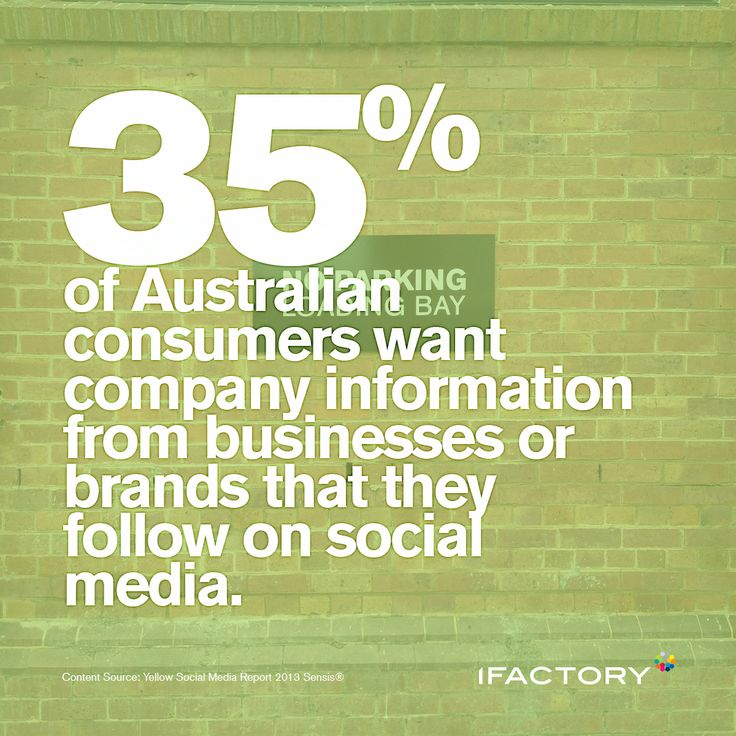 35% of Australian consumers want company information from businesses or brands that they follow on social media. #social #socialmedia #statistics #businesses #brands #ifactory #digital #trends #australia #media #ifactorydigital #bne