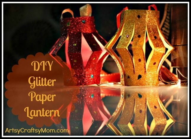 Artsy Craftsy Mom: DIY Glitter Paper Table Lanterns