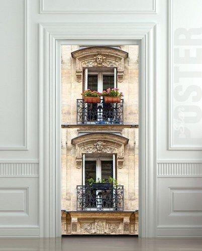 "Door STICKER Balconies Paris windows mural decole film poster 31x79""(80x200cm) | pulaton - Print on ArtFire"
