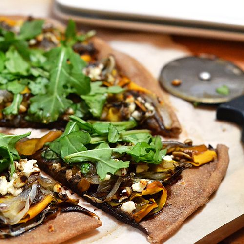 Shaved Butternut Squash & Caramelized Onion Pizza with Goat Cheese on whole wheat crust