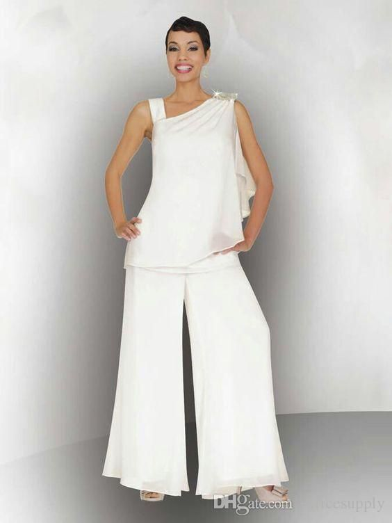 237b922b4fe6c Elegant Women Mother Of The Bride Groom Pant Suit Ruched Crystal Plus Size  White Chiffon Formal Wedding Guest Dresses Joan Rivers Suit Mathar Son From  ...
