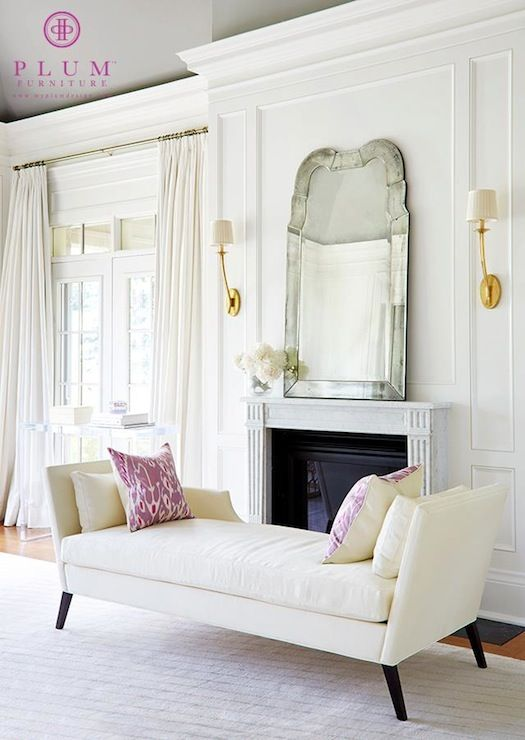 gorgeous white curtains and mirror