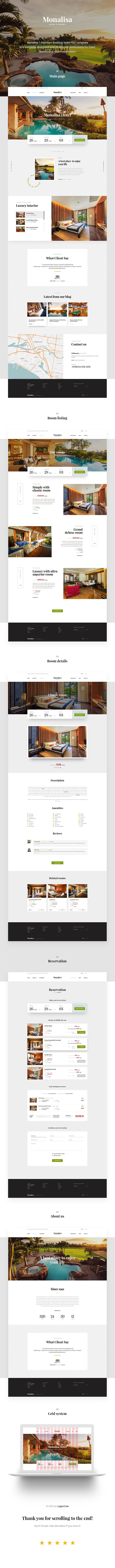 Monalisa | Premium Booking Hotel PSD Template is a template designed and developed particularly for hotel, resorts and room reservation. With clean and trendy design, the great combination between ...