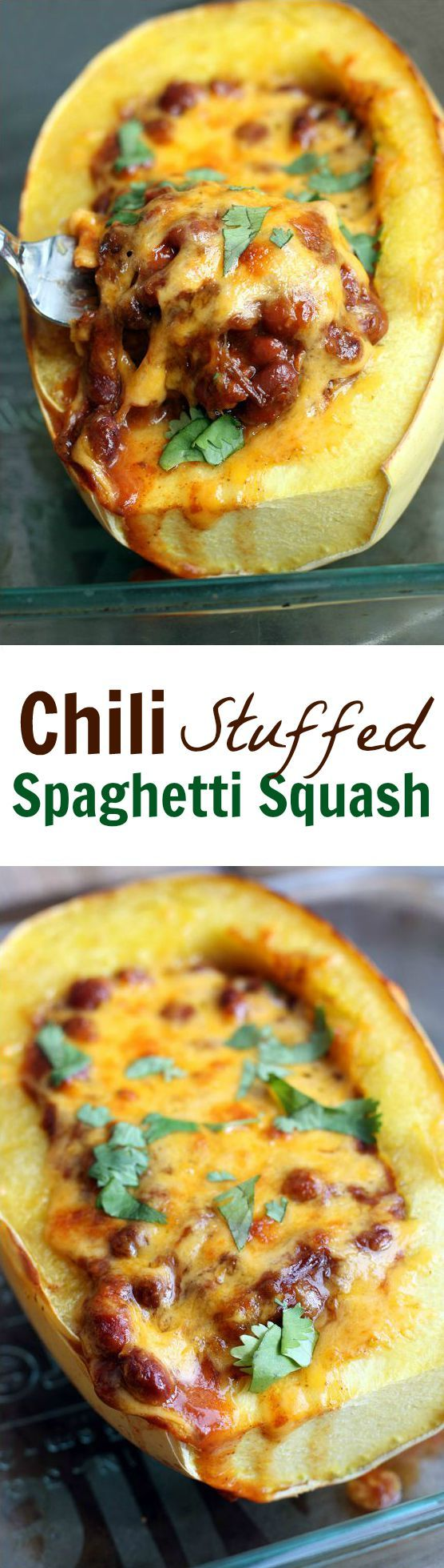 Chili & Cheddar Cheese Stuffed Spaghetti Squash - is comfort food at it's finest! I LOVE stuffed spaghett squash. I could eat this Tex Mex Spaghetti Squash everyday! This chili version is perfect for cooler nights when I want something warm & comforting without all the calories!