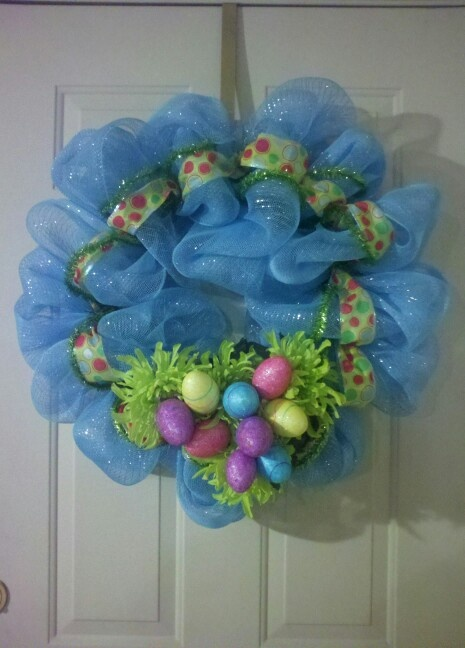 Poly Deco Mesh Pastel Easter Wreath by KelliBanelli