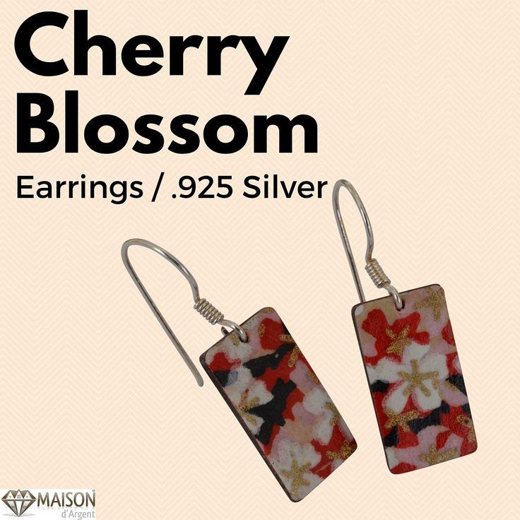 Japanese Cherry Blossom Earrings on 925 Sterling Silver