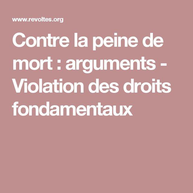Contre la peine de mort : arguments - Violation des droits fondamentaux