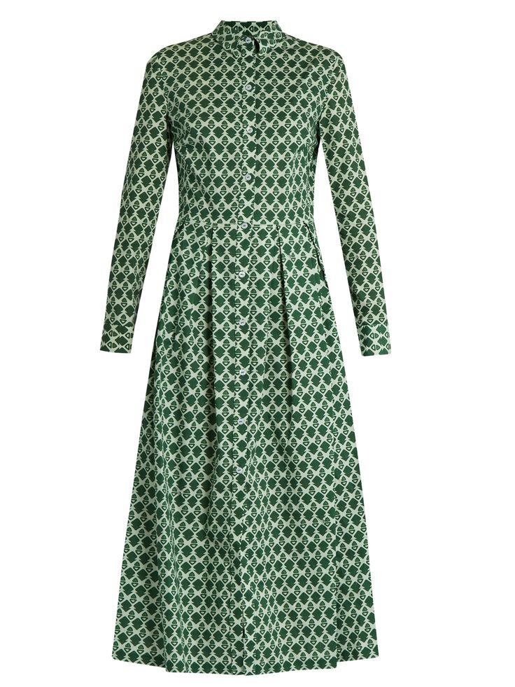 Dinamica geometric-print cotton shirtdress   Stella Jean   MATCHESFASHION.COM