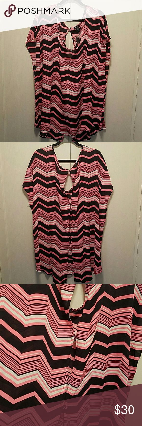 🆕 Bright Pink and Black Chevron Top 3 button split back top. A cami can be worn underneath. Torrid Tops