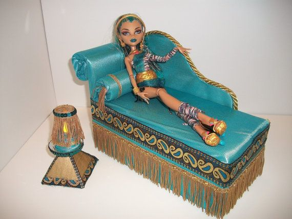 Furniture for Monster High Dolls Handmade Chaise Lounge Bed for Nefera with Bolster Pillow Pyramid Table and Working Lamp. $35.00, via Etsy.