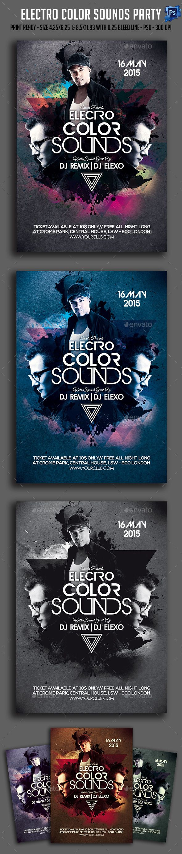 Electro Color Sounds Party Flyer