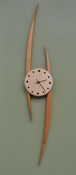 Slope Clock: Steve Uren: Wood Clock   Artful Home