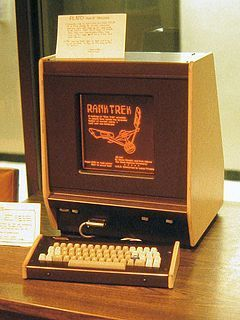 Plasma display - Plasma displays were first used in PLATO computer terminals. This PLATO V model illustrates the display's monochromatic orange glow as seen in 1981.