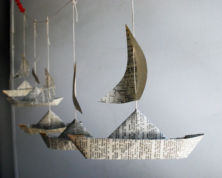 Paper Boat Garland, Dictionary pages, Party Decor, 5 Fun Paper Boats with sails, Bon Voyage Ornament, Travel Decoration by PaperAltar on Etsy https://www.etsy.com/listing/179723668/paper-boat-garland-dictionary-pages