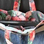 Lækker taske af cowboystof og blomstret stof