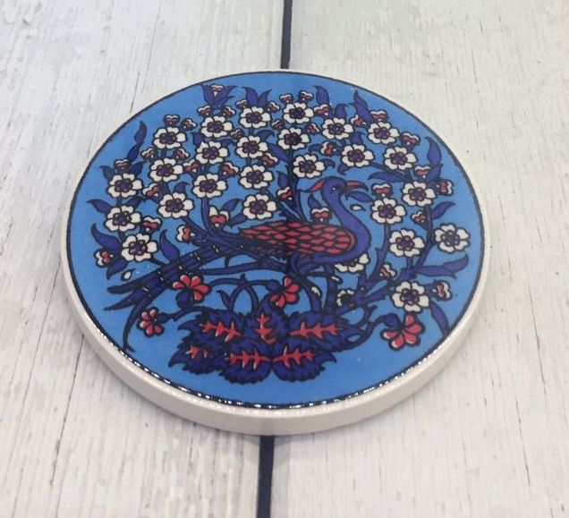 TURKISH CERAMIC COASTER, PEACOCK