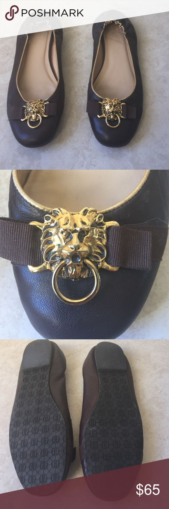 Lilly Pulitzer Brown with Gold Ballet Shoes Lilly Pulitzer leather chocolate brown shoes with gold trim and gold lion accent. Super cute and in great condition. Lilly Pulitzer Shoes Flats & Loafers