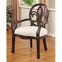 Fleur De Lis Solid Wood Carved Accent Chair Furniture Features A Casual  Transitional