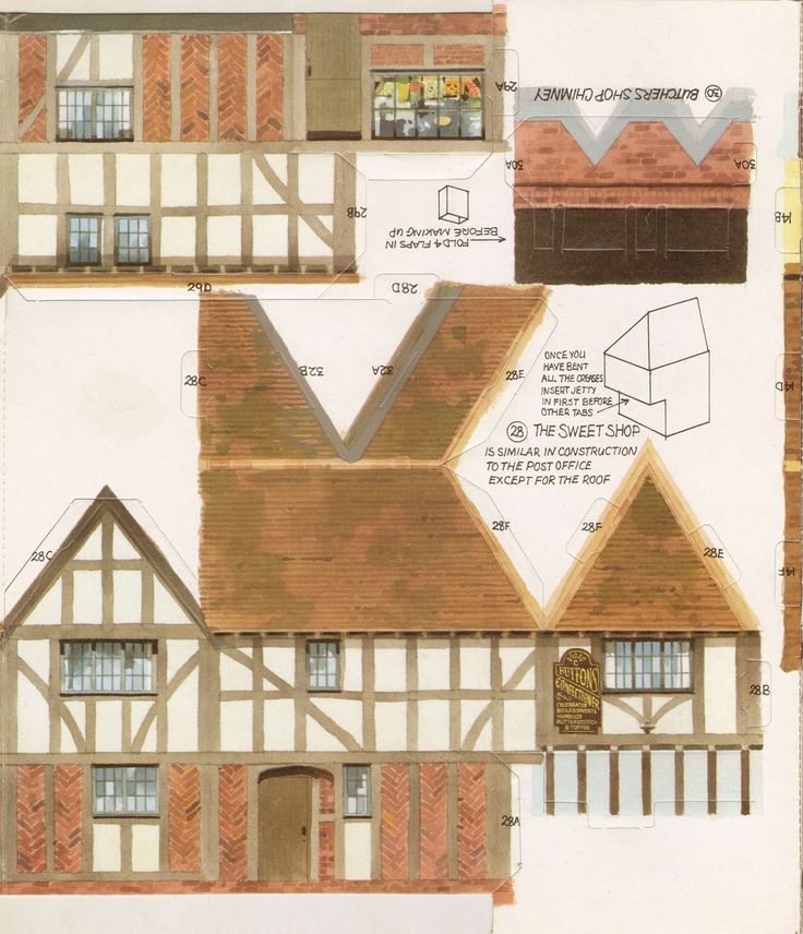 Kellogg's UK Paper Village Sheet 2 Pt 2 - Butcher Shop & Sweet's Shop