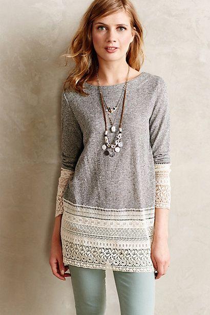 Recessed Lace Sweatshirt - anthropologie.com