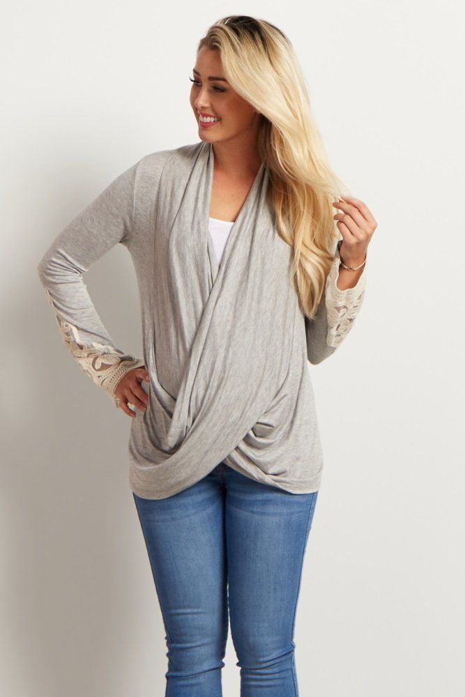 This gorgeous draped front maternity top is everything we need this year. A stylish draped front gives you a chic look for every occasion, and a pretty crochet sleeve detail will make you feel flirty and feminine. Style this maternity top with a dark wash jean and boots for a complete look.