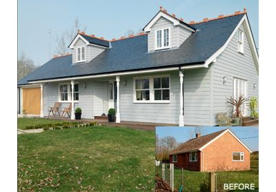 Roof was raised to create first floor accommodation  The house was extended to both sides and a new garage created  Composite weatherboarding by Marley Eternit, bought from Marco Industries (01795 436600), has been used to clad the exterior  Old plastic windows have been replaced with timber windows