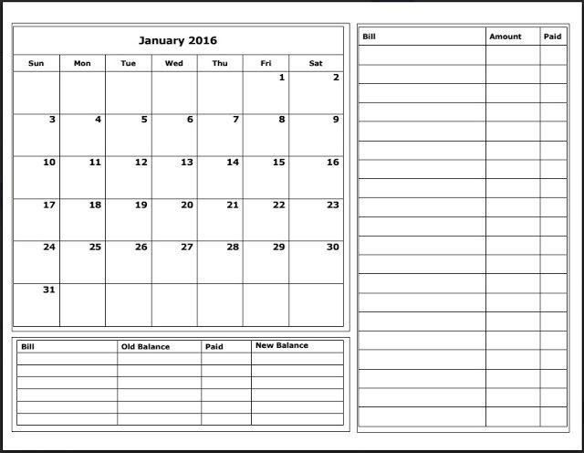 Free 2016 Budget Calendars