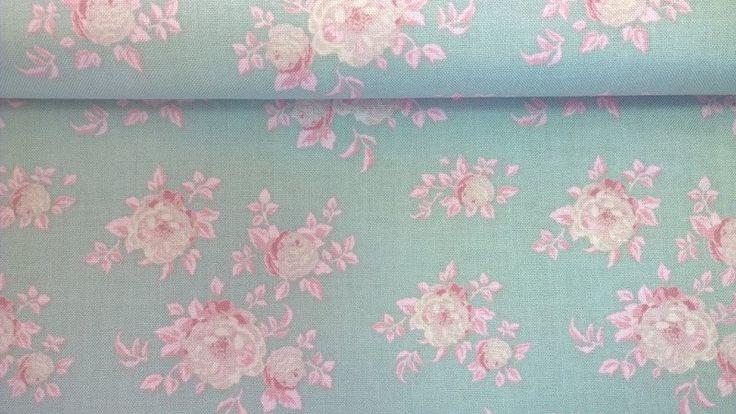 Stoff Blumen - Tilda Quilt Collection Aurora bluegreen - ein Designerstück von Stoffe-guenstig-kaufen bei DaWanda