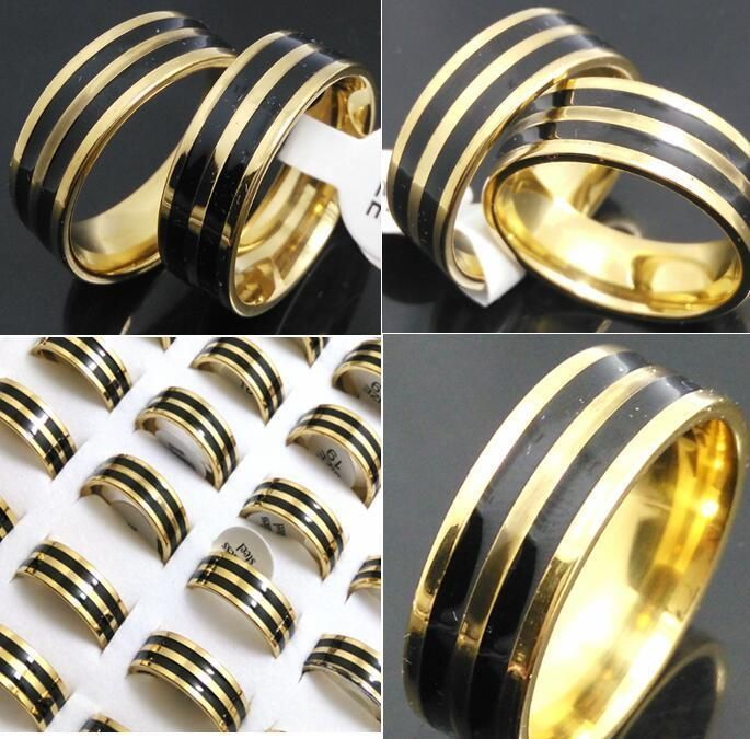 30X Quality Comfort-Fit Enamel Men's Stainless Steel Rings 8Mm Wholesale Jewelry