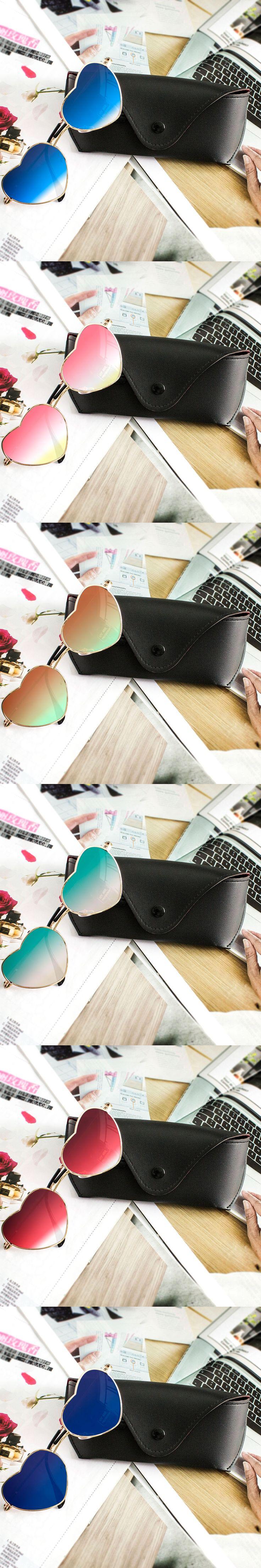 2016 New Trendy Heart Shaped Sunglasses Plus Glasses Case WOMEN metal Reflective lens sun glassese MEN Mirror oculos de sol