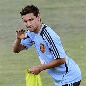 Spanish national team player Jesús Navas exercises during a training session in Las Rozas