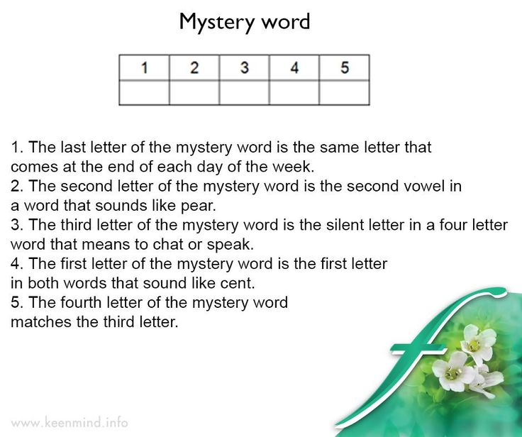 Time for our #brainteaser. can you spell the 5 letter word, using the clues below. #Flordis #KeenMind