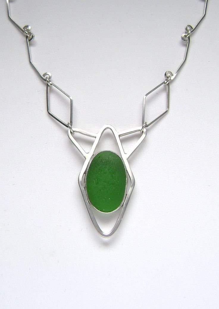 Sea Glass Jewelry  Sterling Green Sea Glass by SignetureLine, $175.00