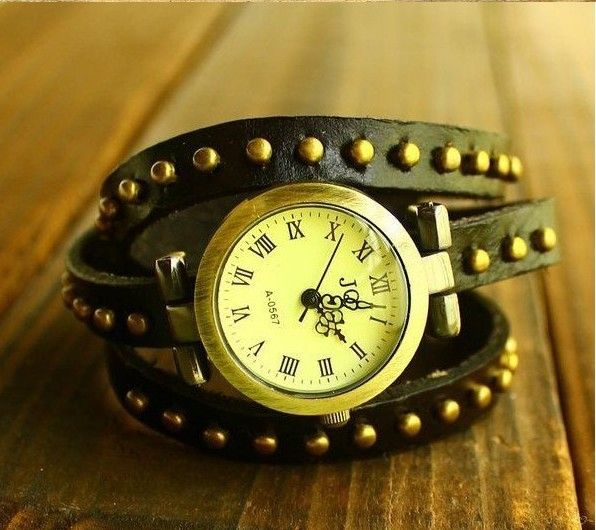 CCQ  Brand Vintage Genuine Cow Leather Watch Men Long Band Punk Style Round Rivets Ladies Wristwatch Male Quartz Watch W1316-in Women's Watches from Watches on Aliexpress.com   Alibaba Group