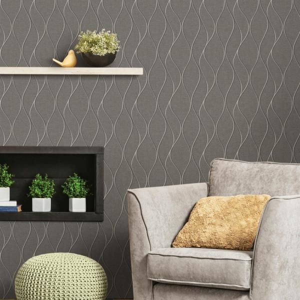 Roommates Grey Wave Ogee Grey Silver Vinyl Peelable Roll Covers 28 18 Sq Ft Rmk11294wp The Home Depot Peel And Stick Wallpaper Wall Coverings Room Visualizer