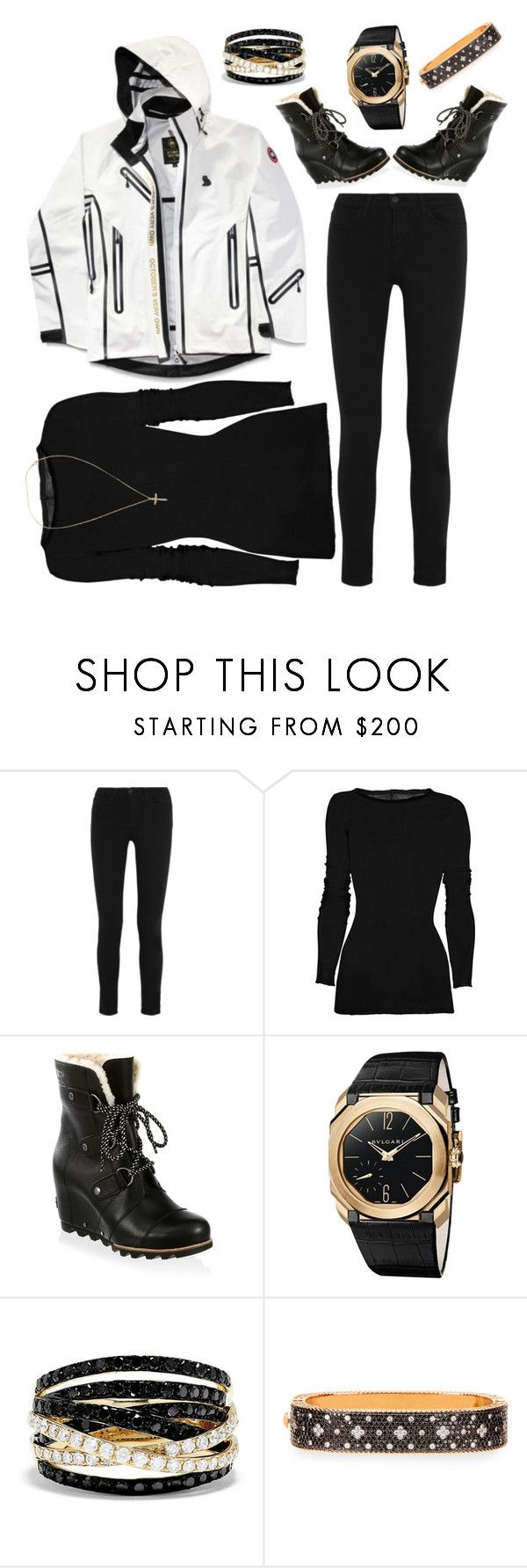 """Look alive, Look alive"" by southern-mom ❤ liked on Polyvore featuring Canada Goose, J Brand, Rick Owens, SOREL, Bulgari, Effy Jewelry, Roberto Coin and Tiffany & Co."