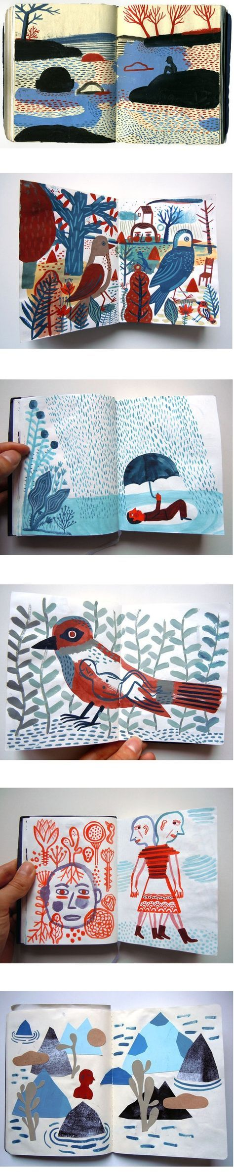 Laurent Moreau: different subjects but similar marks and a limited colour palette make this a really cohesive sketchbook