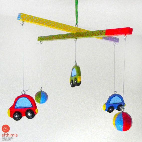Kids car mobilecar nursery mobilepapier by EfthimiaPapierMache