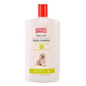 Nature's Miracle Supreme Odor Control Natural Whitening Shampoo and Conditioner works to keep your dog fresh and clean. This soap-free formula is safe to use with spot-on flea and tick products, contains no dyes or parabens, and contains Awapuhi Extract to brighten white and light colored coats. The 4 in 1 benefits of this shampoo include neutralizing a wide variety of odors, deodorizing, skin and coat cleaning, and conditioning.