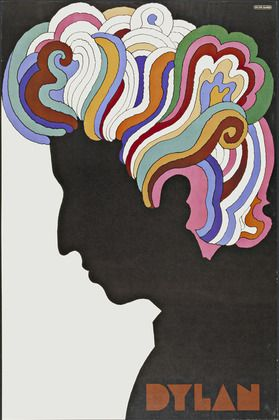 Milton Glaser. Dylan poster. 1966.  Glaser's concert posters and record album designs manifest a singular ability to combine his personal vision with the essence of the content. Glaser's 1967 image of the popular folk-rock singer Bob Dylan (Fig. 21 - 19) is presented as a black silhouette with brightly colored hair patterns inspired by art nouveau sources.