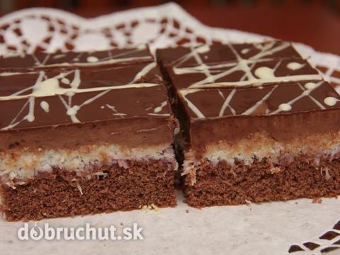 Čokoládovo - kokosové rezy - Rezy sú vhodné na slávnostné príležitosti, kombinácia kokos a čokoláda je výborná.