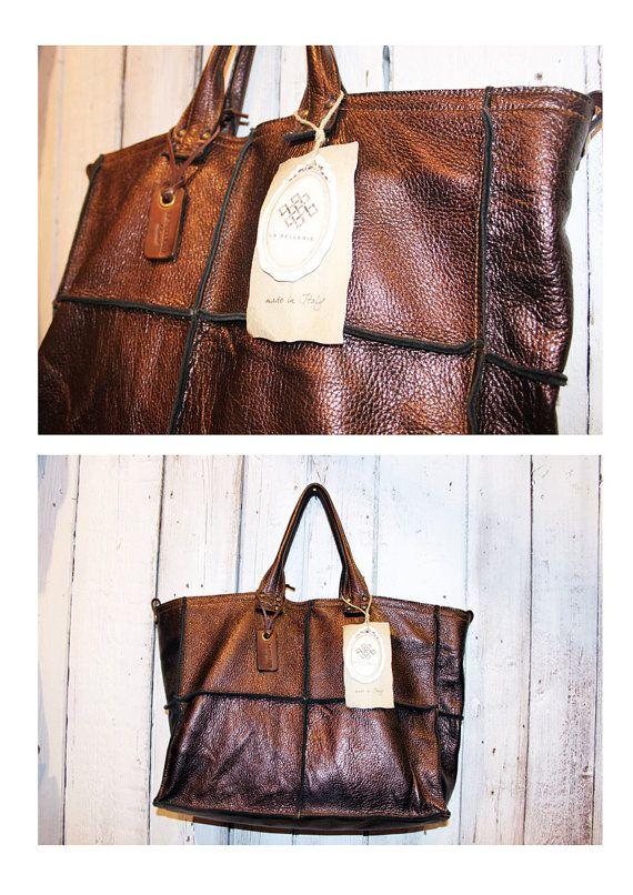 TOWN BAG borsa in pelle di vitello colorato a mano  tracolla