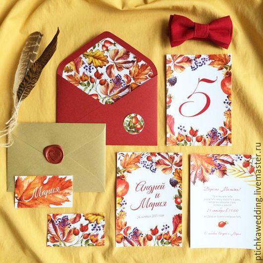 Свадебные аксессуары ручной работы. Ярмарка Мастеров - ручная работа. Купить Акварельные свадебные красно-оранжевые приглашения Осенние листья. Handmade.