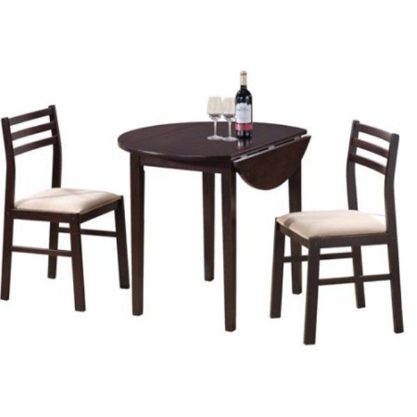 Small Dining Room Set 3-Piece Counter Height Kitchen Breakfast Table With Chairs