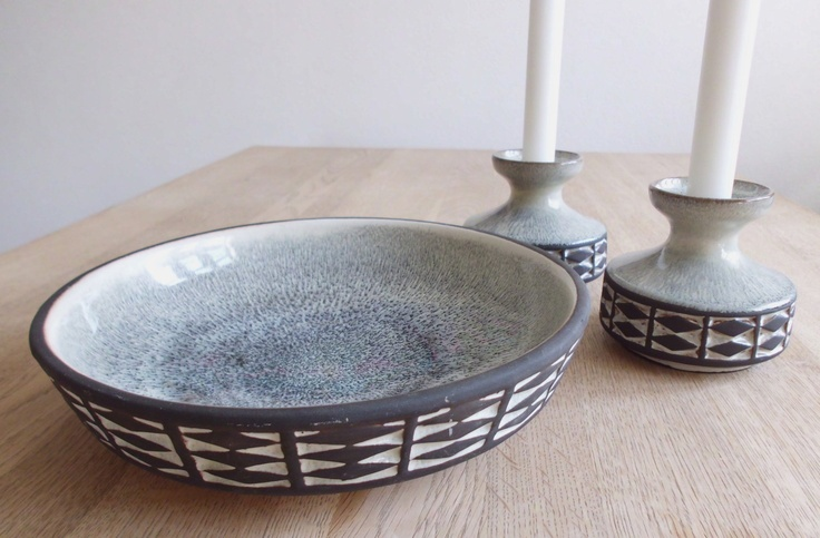 RETRO from the 70s - 2 candle holders - 1 fruit bowl - Danish design - Frank Keramik. $59.00, via Etsy.