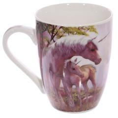 £4.50 Mauve Unicorn Mug - This unicorn and unicorn foal mug brings a touch of magic to any cup of tea or coffee.