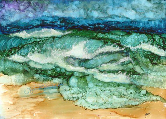 Storm surge, seascape, alcohol ink painting, ocean, beach, stormy night, waves, rain on the beach, atlantic ocean,