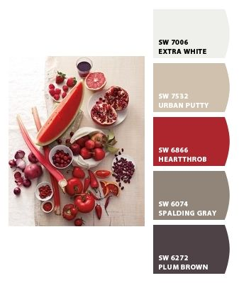 Love the colour mix...especially the red. Paint colors from Chip It! by Sherwin-Williams (Spalding gray)